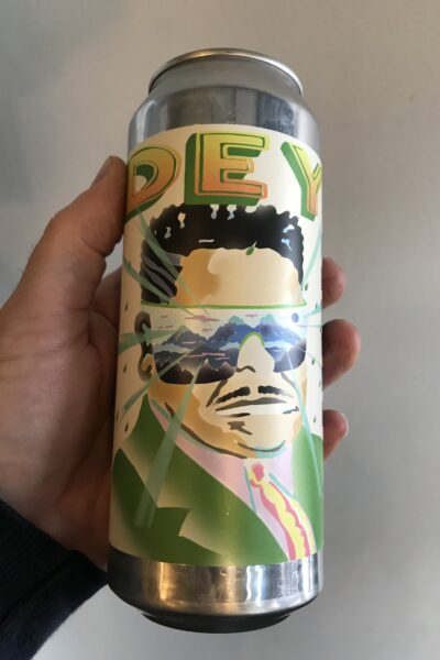 I am locked away in a high-tech wraparound translucent, blue-tinted fortress Sour IPA by Deya Brewing Company.
