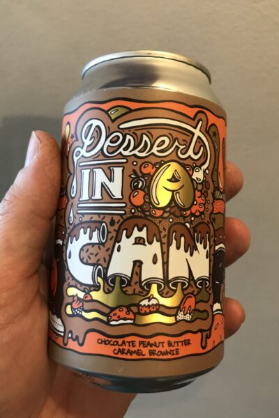 Dessert IN A Can Chocolate Peanut Butter Caramel Brownie by Amundsen Brewery.