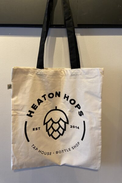 Heaton Hops Logo Natural Tote Bag.