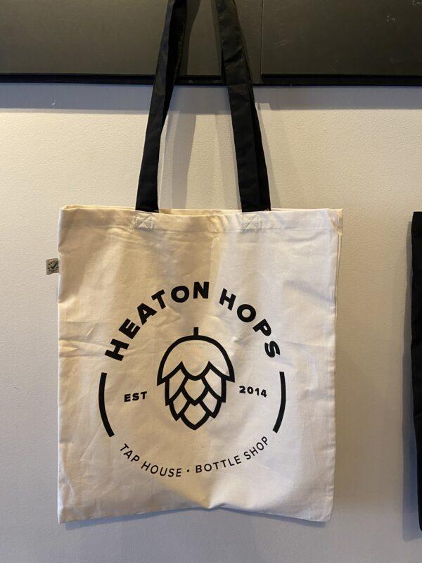 Heaton Hops Logo Natural Tote Bag.