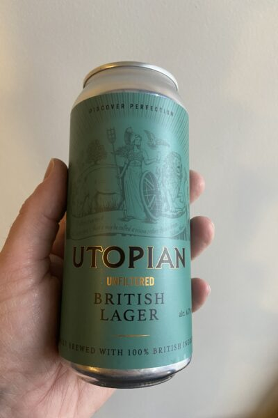 Unfiltered British Lager by Utopian Brewing.