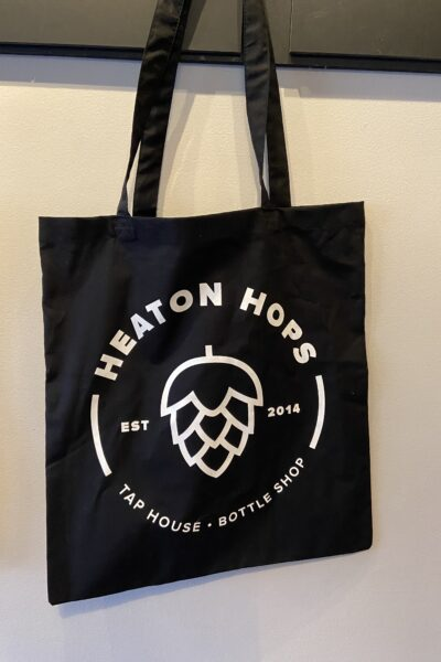 Heaton Hops Logo Black Tote Bag.