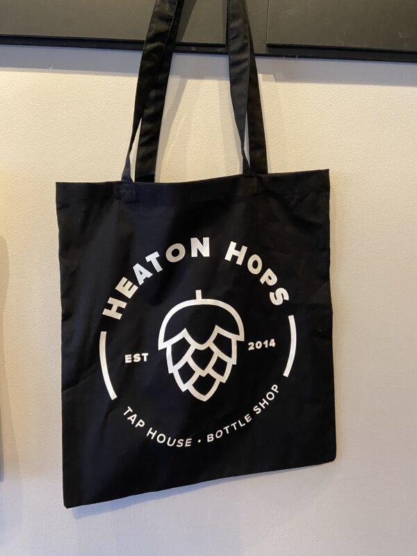 Heaton Hops Logo Black Tote Bag.