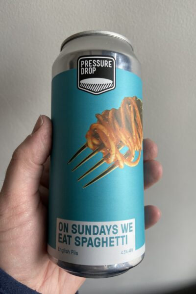On Sundays We Eat Spagetti Pilsner by Pressure Drop Brewing.