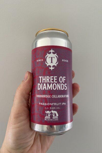 Three of Diamonds Passionfruit IPA by Thornbridge Brewery x Mikkeller.