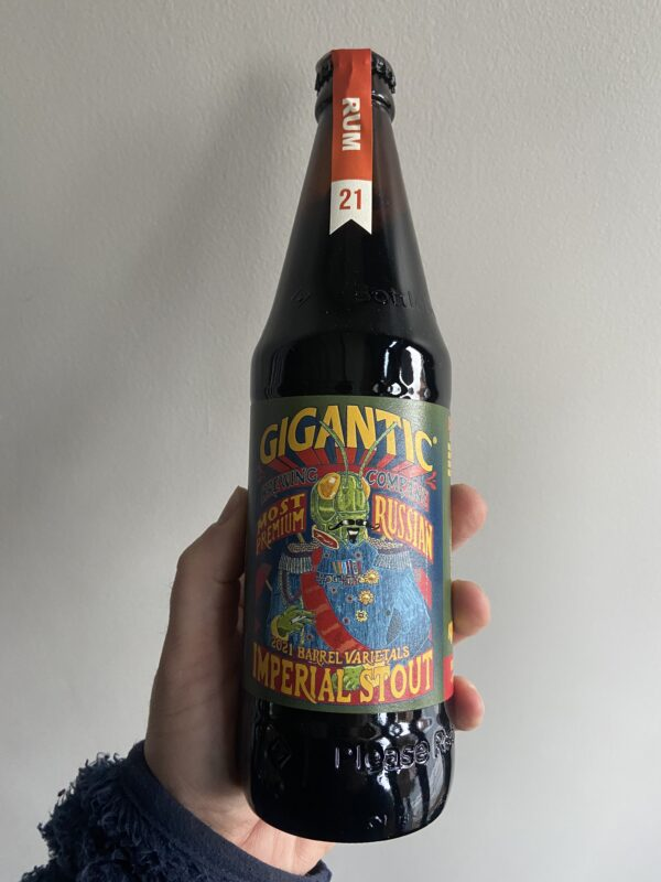 Most Premium Rum Barrel Aged Russian Imperial Stout by Gigantic Brewing Company.